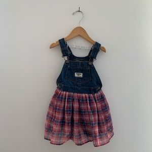 OshKosh B'Gosh Denim Overall Bib Tulle Dress EUC